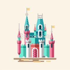 Волшебный замок. Сказочный дворец. — стоковая иллюстрация #89200148