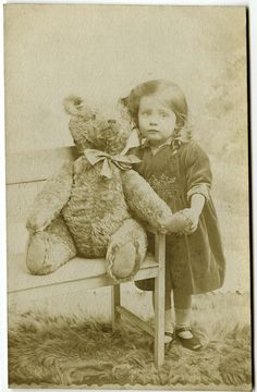 Wonderful vintage photo Girl with her Teddy bear.