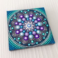 Original Small Mandala Painting on Canvas 8 cm, Aboriginal Art, small painting, acrylic paint on canvas. My art will be carefully packaged to ensure painting reaches you in perfect condition and sent with a Priority Air Mail. Art Watercolor, Dot Art Painting, Mandala Painting, Painting Patterns, Acrylic Painting Canvas, Stone Painting, Canvas Art, Mandala Design, Mandala Pattern