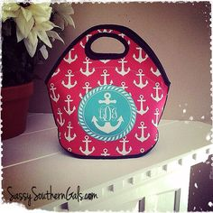 Customized / Monogrammed Lunch Tote , Lunchbox on Etsy, $36.00