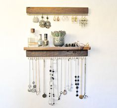 Jewelry Organizer With Shelf, Earring Display and Necklace Hooks by TheKnottedWood on Etsy https://www.etsy.com/listing/490414015/jewelry-organizer-with-shelf-earring