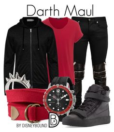 """Darth Maul"" by leslieakay ❤ liked on Polyvore featuring Yves Saint Laurent, TIGHA, ZALORA, Alexander McQueen, Tissot, Giuseppe Zanotti, disney, disneybound, starwars and disneycharacter"