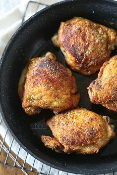 Crispy Pan Roasted Chicken Thighs - Nutmeg Nanny