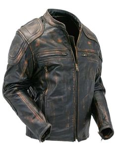 Mens Cafe Racer Quilted Distressed Brown Vintage Motorcycle Biker Leather Jacket | Clothing, Shoes & Accessories, Men's Clothing, Coats & Jackets | eBay!