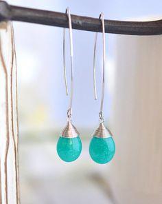 Simple Teal Drop Earrings. Dangle Earrings. Long Drop Bridesmaid Earrings by RusticGem.