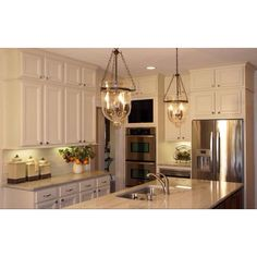 Kitchen lighting, cool cabinets--little one on top instead of a tall wall cabinet