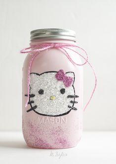 DIY Glitter Hello Kitty mason jar. Cute teen gift that loves Hello Kitty.