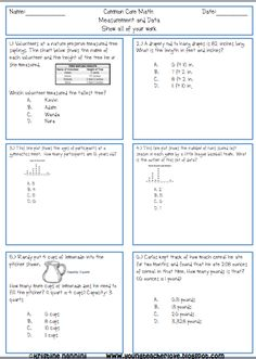 Common Core Math Homework Printable Problems- over 100 word, line plots, charts, and graph problems in each packet. Measurement and Data
