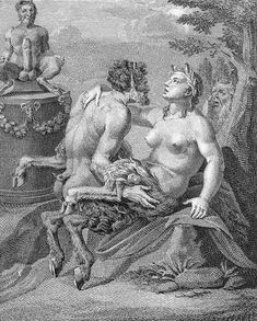 the hoof shoe in history - 'the cult of priapus', with a male and a female satyr woodland deities, represented as part human, part horse (and sometimes part goat) and noted for lasciviousness.
