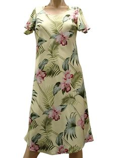 168448c115 Paradise Found Orchid Bamboo Yellow Rayon Hawaiian A-Line with sleeves  Short Dress Luau Dress