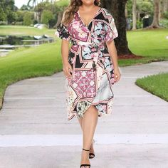 chicwestyle Plus Size Sunflower Dress Commuting Printed Colour Belted Dress Plus Size Spring Dresses, Casual Dresses Plus Size, Spring Dresses Casual, Modest Dresses, Dress Casual, Casual Outfits, Big Size Dress, Sunflower Dress, Affordable Dresses