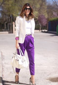 Chic And Stylish Office Outfits Chic And Stylish Office Outfits Lila Outfits, Leopard Outfits, Office Outfits, Chic Outfits, Fashion Outfits, Fashion Trends, Leopard Heels, Purple Pants Outfit, Purple Outfits
