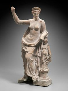 Statuette of Aphrodite leaning on a small statue, Greek, East Greek, Hellenistic Period, 150–100 B.C.