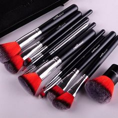 Gorgeous 12 piece makeup brush set. Comes in 4 different colors. Includes free makeup bag!