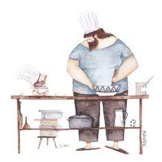 ilustracion de padre e hija haciendo de cocinar