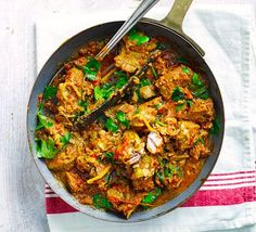 Storecupboard spices along with puréed onions, garlic and ginger create an authentic flavour in this tender lamb curry that's rich in iron and 2 of your 5-a-day