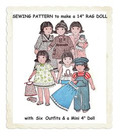 """Instant Download PDF Vintage Seventies Sewing Pattern to make a 14"""" Rag Doll Baby Doll & Clothes 6 Dressing Up Outfits Fancy Dress Wardrobe"""