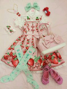 HARAJUKU STREET☮JAPANESE FASHiON•••sweet lolita ~ Angelic Pretty ~ ichigo strawberry print ~ coordinate ~ bows ~ knee socks ~ shoes ~ purse ~ jewelry ~ cute ~ kawaii