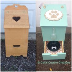 "Potato and Onion Bin repurposed! Now the ""Darling Dog Food Holder"""