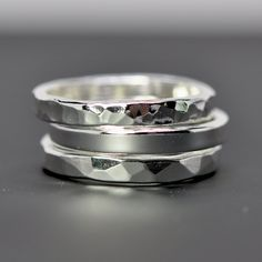 Stacking Silver Rings Pure Silver Eco Friendly Recycled Metal Hammered Handmade Set of Three Sea Babe Jewelry. $70.00, via Etsy.