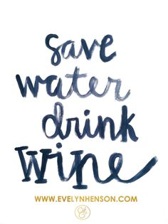 Save Water Drink Wine 8.5 x 11 Bar Cart Print by EvelynHenson