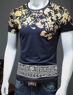 d18bf81ca95 Men s Vintage   Basic Plus Size Cotton T-shirt - Print Round Neck   Short