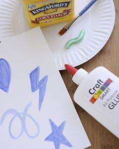 Toothpaste Art- can use like clay or like paint.What You Need:         •Liquid glue (1 tablespoon) •Cornstarch (2 tablespoons) •Toothpaste (1/2 tablespoon) •Tablespoon and teaspoon measures •1 drop food coloring •Paper bowl •Plastic spoon •Cookie cutters, play dough molds •Paper plate or finger paint paper •1 teaspoon water