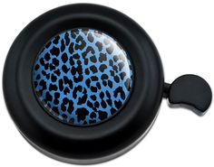 Cool and Custom {Fully Adjustable to Fit Most Bikes} Bicycle Handlebar Bell Made of Hard Metal with Colorful Big Jungle Cat Leopard Print Spots Design {Black and Blue Colors}