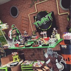Awesome decorations at a Teenage Mutant Ninja Turtles birthday party! See more party planning ideas at CatchMyParty.com!