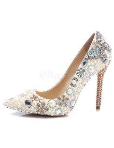 High Heel Abend Schuhe Frauen Perlen Pumps Schuhe Strass zeigte Stiletto  Party Schuhe - Milanoo. 3d1db449cc