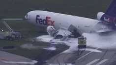 PHOTO FedEx Flight #FX910 at Fort Lauderdale after the fire was extinguished. The wing is completely destroyed.