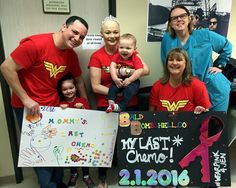 """This wonder woman is flying high after finishing her final day of chemo! Jen completed treatment on February 1st with her almost 4-year-old daughter, 8-month-old son, hubby, mom and a few friends by her side. Next up is a bilateral mastectomy, and then on to radiation! Jen says, """"Hoping to wake up after surgery wearing my Nana's Breast Cancer """"Survivor"""" sash that my surgeon will put on me when they get it all! Would love to wake up to that!"""""""