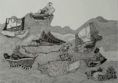 #ships #black and white #annadeligianni #ink #engraving #etching #expressionism #sea #traditional #fantasy #downbytheseaside