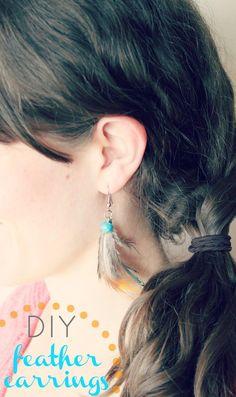 DIY Jewelry : DIY Easy Feather Earrings
