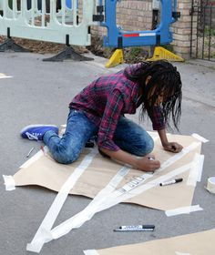Street Drawing: exploring vanishing points with masking tape