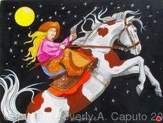 Shooting For The Stars! #1 by Beverly Caputo Watercolor ~  x