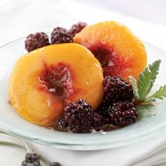 Lavender-Poached Peaches & Blackberries @eatingwell