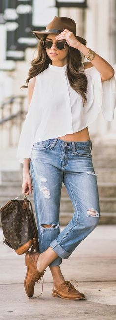 AG JEANS boyfriend jeans // ROMWE white sleeve-less top // THE FRYE COMPANY camel oxfords // LOUIS VUITTON vintage backpack // RAYBAN clubmaster sunglasses // REVOLVE CLOTHING brown hat