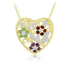 $8.99 - Multi-Gemstone Flower Heart Pendant in Gold Over Silver