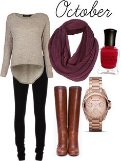 Oatmeal sweater + black skinnies + cognac boots + burgundy scarf
