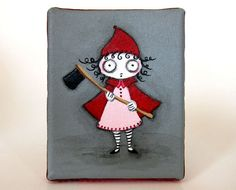 Red  original acrylic painting Little Red Riding Hood by yoborobo