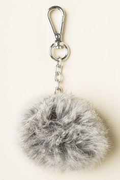 Brandy ♥ Melville   Grey Fur Ball Keychain - Keychains - Accessories