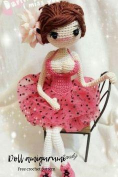 Doll amigurumi free crochet patterns girl #dollpattern #dollamigurumi Doll Amigurumi Free Pattern, Amigurumi Doll, Double Crochet, Single Crochet, Free Crochet, Crochet Hats, Black Thread, Face Design, Lace Knitting