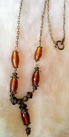 Amber - borostyánsárga nyaklánc  réz gyöngyökkel (gaboca) - Meska.hu Handmade Necklaces, Chain, Jewelry, Jewlery, Jewerly, Necklaces, Schmuck, Jewels, Jewelery