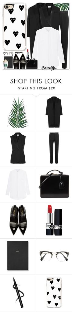 """""""Black and White   CASETIFY"""" by yagmur ❤ liked on Polyvore featuring Nika, Topshop, PALLAS, Dolce&Gabbana, Jadicted, Mark Cross, Yves Saint Laurent, Christian Dior and Casetify"""