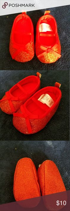 Red Baby Glitter Flats 3-6 Months Adorabel red glitter flats that are great for any special occasion. Never worn target Shoes Dress Shoes