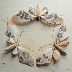 Neutral Fabric Butterflies -  6891277375 83c4ccb36f o Textile Sculptures by Mister Finch.