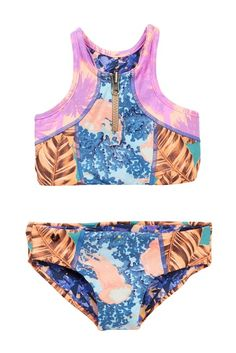 2b113c915ec12 Pineapple Raffle Flutter Two-Piece Bikini (Toddler, Little Girls, & Big  Girls)