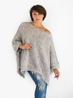 Grey oversized alpaca knit sweater with short sleeves