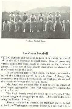 1924 UO freshman football.  From the 1925 Oregana (University of Oregon yearbook).  www.CampusAttic.com
